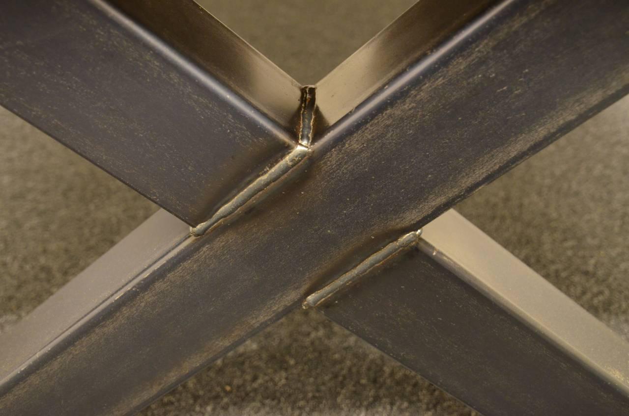kruisframe tafel stalen frame houten blad