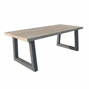 Trapezium frame tafel stalen frame houten blad