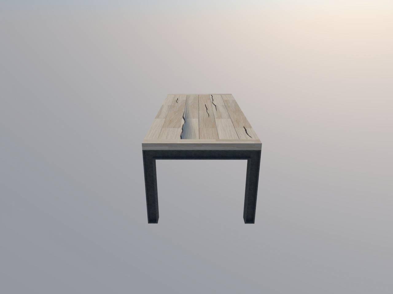 H-profiel stalen frame tafel stalen frame houten blad