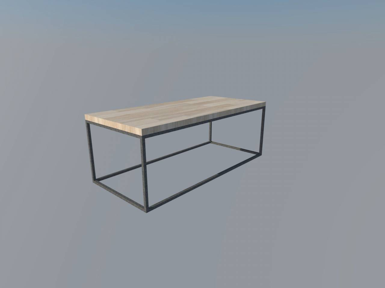 Stalen frame tafel stalen frame houten blad