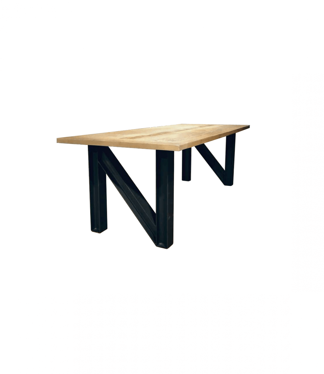Stalen tafel N-frame stalen frame houten blad
