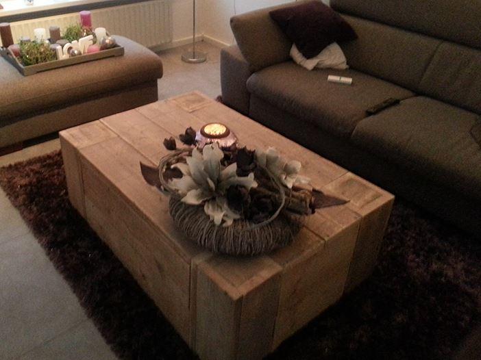 Salontafel blokvorm met lade van steigerhout for Steigerhout salontafel