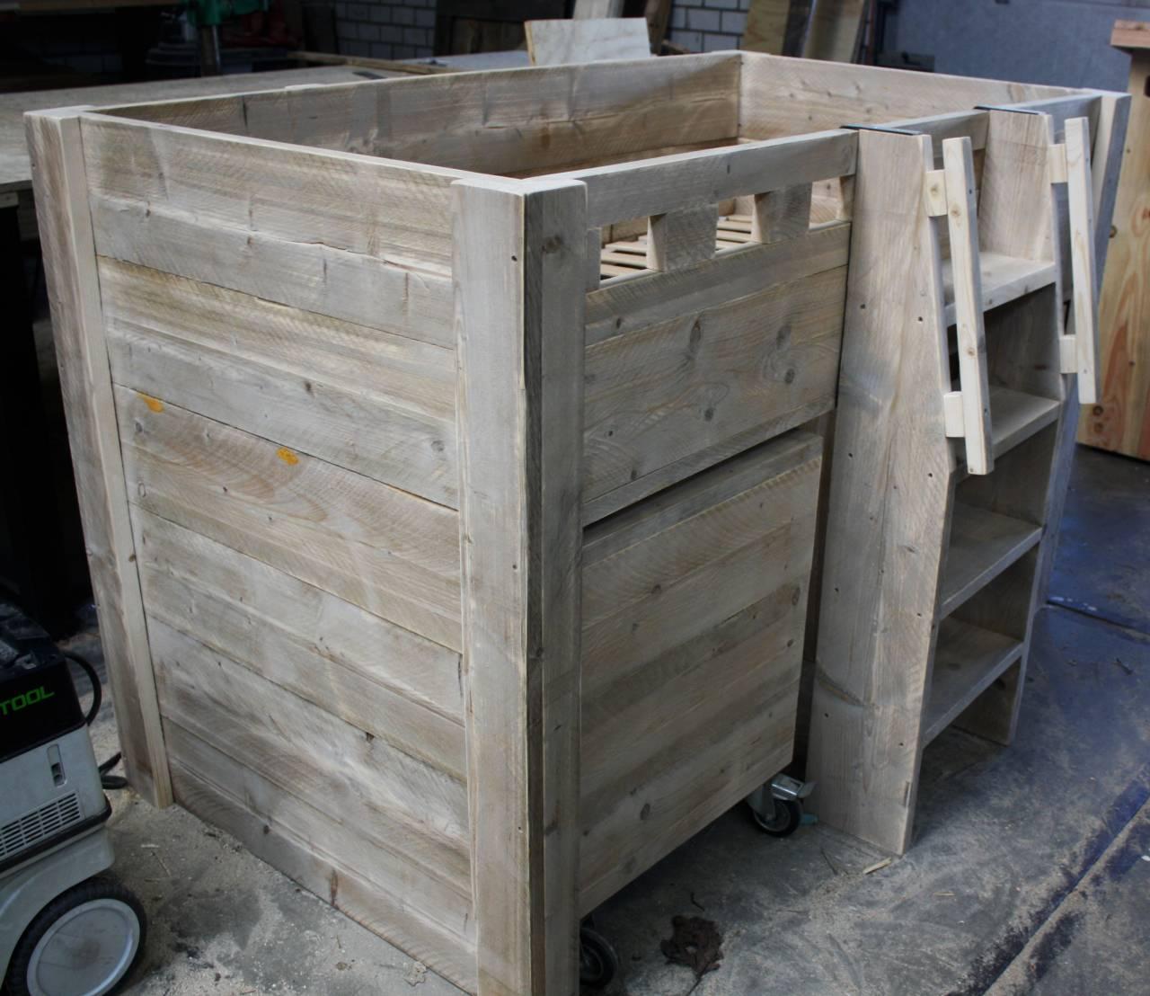 Half hoogslaper steigerhout